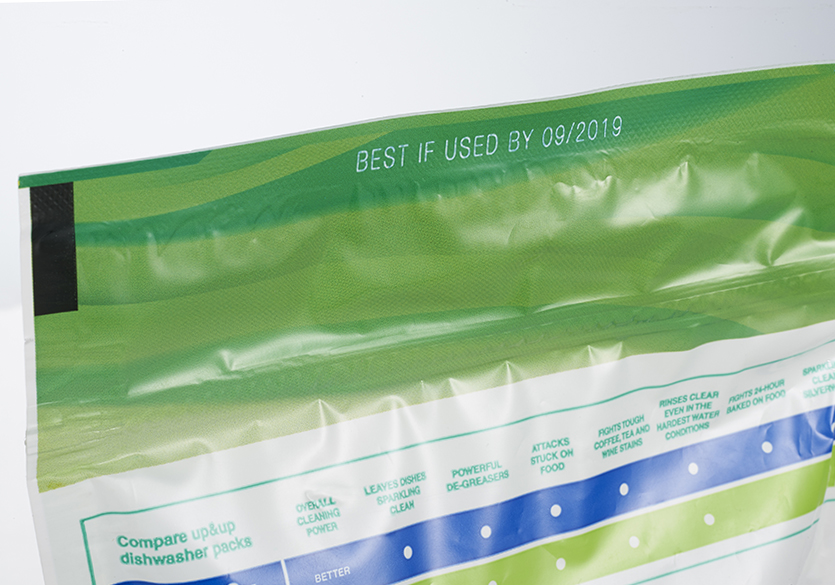 Best by and lot code on plastic pouch household goods with laser