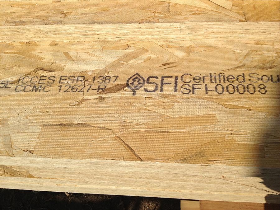 Regulatory mark on engineered wood with MMS V-Series marking machine