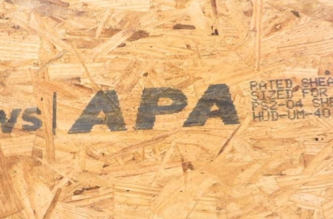 APA regulatory mark on OSB engineered wood with MMS V-Series marking systems