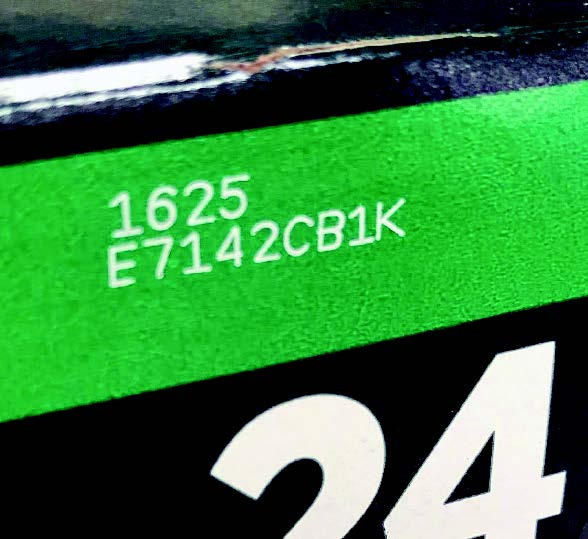Manufacturing codes lasered onto fridge pack