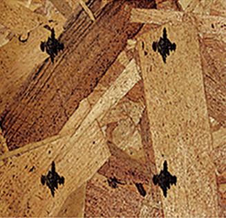 Nail marks on OSB engineered wood with MMS V-Series marking system