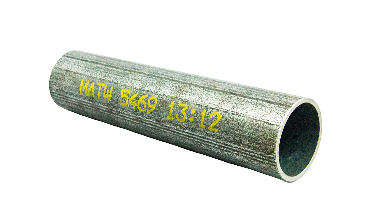 Inkjet marks and codes on metal pipe